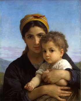 Jeune Fille et Enfant (Girl with a Child), 1877 by William Adolphe Bouguereau (French, 1825 - 1905)