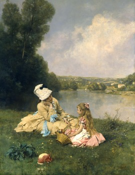 Summer days at Giverny, C. 1871 by Ferdinand Heilbuth (French, 1826 - 1889)