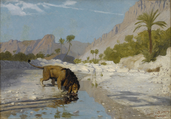 Lion drinking from a Desert Stream , c. 1885 by Jean-Léon Gérôme (French, 1824 - 1904)