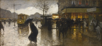 Rainy Evening, Paris by François-Joseph Luigi Loir (French, 1845 - 1916)
