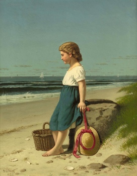 Young girl at the Seashore, 1881 by Samuel S. Carr (American, 1837 - 1908)