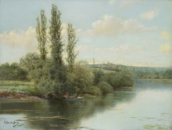 River Landscape with Village in the Distance by Emilio Sanchez-Perrier (Spanish, 1855 - 1907)