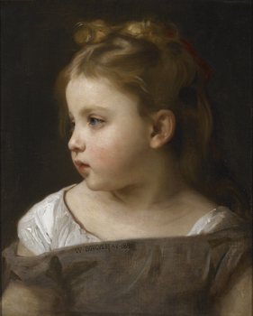 A Young Girl in Profile, 1881 by William Adolphe Bouguereau (French, 1825 - 1905)