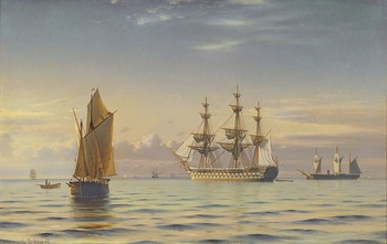 A Frigate, Calm Seas, 1867 by Christian Frederic Eckardt (Danish, 1832 - 1914)