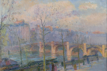 L'Ile Saint Louis and the Pont de la Tournelle by Albert Charles Lebourg (French, 1849 - 1928)